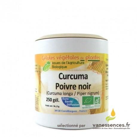 Curcuma et poivre noir en gelules - Produit biologique