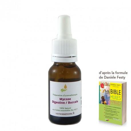 Pour traiter les mycoses digestives ou buccales. Préparation d'huiles essentielles bio par voie orale. Formule Danièle Festy
