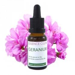 Géranium rosat Huile essentielle bio alimentaire pour la cuisine - Concentré d'arôme 100% naturel