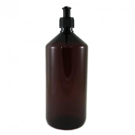 Flacon plastique PET ambré 1 Litre pompe