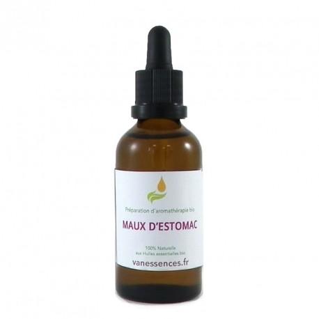 Préparation contre les maux d'estomac (brulures, acidités, douleurs, spasmes, crampes). 100% naturel aux huiles essentielles bio