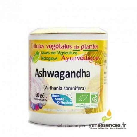 Ashwagandha bio poudre en gélules. Le Ginseng Indien ! Produit ayurvédique fabriqué en France.