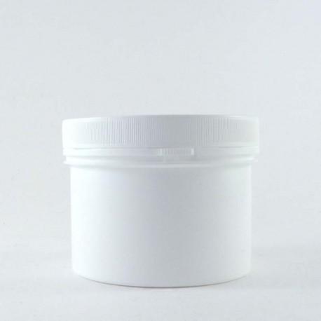 Pot en plastique PP vide blanc 350ml avec bouchon couvercle vissant inviolable.