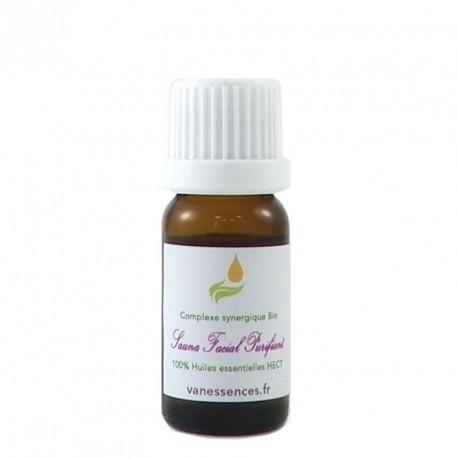 Mélange 100% d'huiles essentielles Bio aux propriétés purifiantes pour peaux mixtes et grasses. Utiliser en sauna facial.