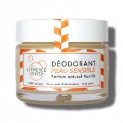 Spécial peau sensible. Déodorant naturel solide efficace. Crème sans sels d'aluminium.