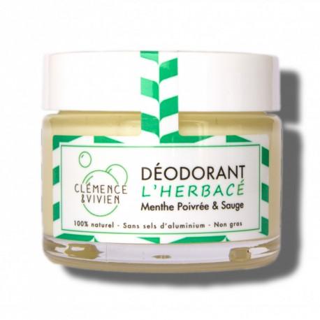 L'Herbacé. Déodorant naturel. Déodorant solide pratique d'utilisation. Efficace et non gras. S'applique au doigt comme un crème.