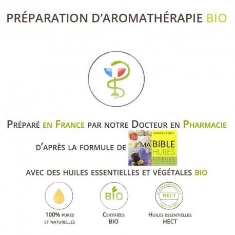 Mélange d'huiles essentielles bio et végétale bio pour stimuler la production de lait maternel.