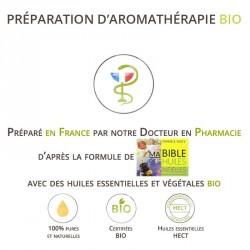 Mélange d'huiles essentielles bio pour soigner la toux grasse. d'une bronchite.