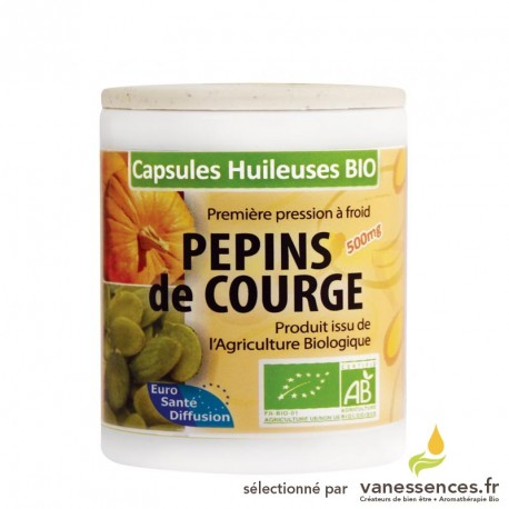 Capsules huileuses d'huile de pepins de courge bio.