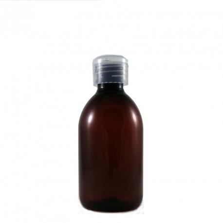 Flacon plastique vide pet ambré 250ml avec capsule service