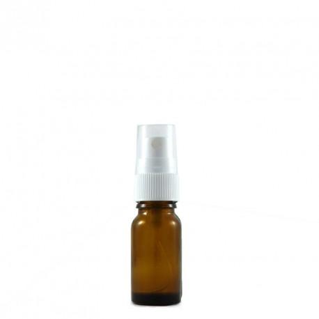 Flacon spray vide 10ml verre ambré - bouchon blanc