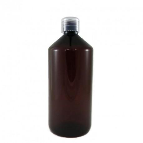 Flacon plastique PET ambré 1 litre capsule service
