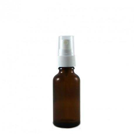 Flacon aromatherapie 30ml verre brun avec spray BLANC
