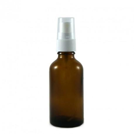 Flacon aromatherapie 50ml verre brun avec pompe spray blanc