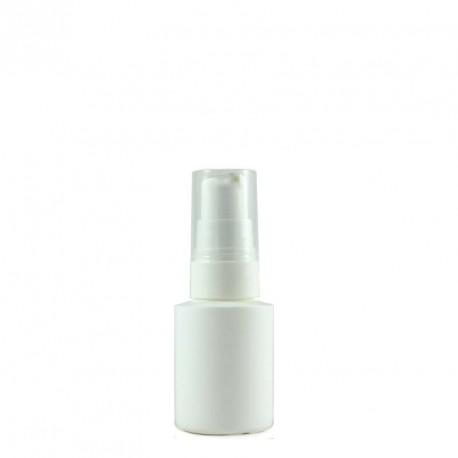Flacon plastique blanc PEHD 30ml avec bouchon pompe crème blanc et capot cristal
