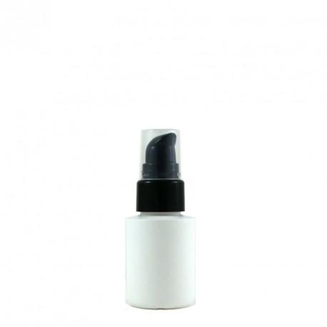 Flacon plastique blanc 30ml bouchon pompe noir