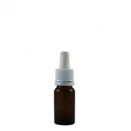 Flacon aromatherapie 10ml verre brun avec bouchon pipette BLANCHE