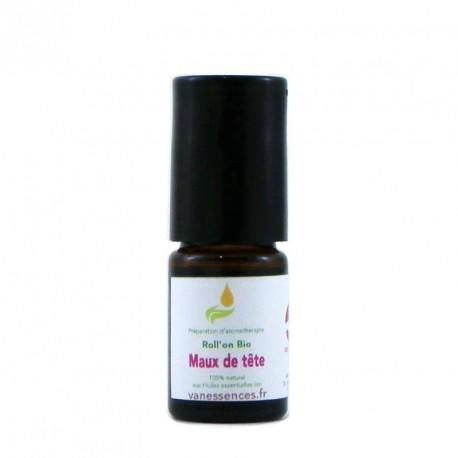 Soin Bio Maux de tête et nevralgies en massage Roll'On SOS aux huiles essentielles bio
