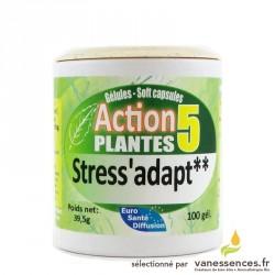 Gélules Stress'Adapt aux 5 plantes. Supplément alimentaire plante anti stress. Phytothérapie stress