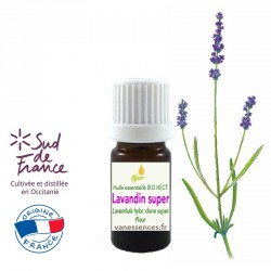 Huile essentielle de  Lavandin super - Lavandula hybr clone super. Cultivée et distillée en France Occitanie. Qualité BIO HECT.