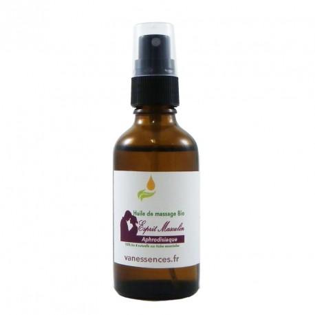 Huile de massage bio APHRODISIAQUE - Esprit Masculin - 100% naturelle aux huiles essentielles