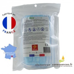 Boite de 20 masques chirurgicaux de protection fabriqués en France.