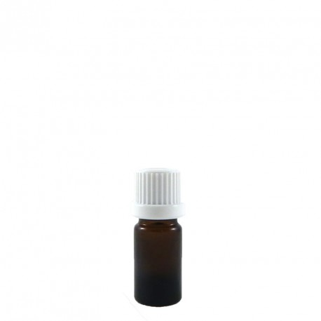 Flacon aromatherapie 5ml verre brun avec compte gouttes codigoutte BLANC