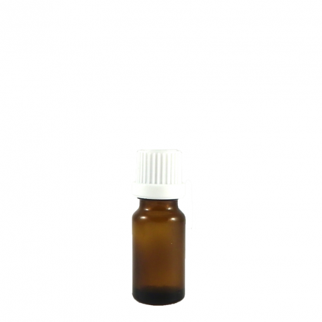 Flacon aromatherapie 10ml verre brun avec codigouttes, compte gouttes inviolable BLANC