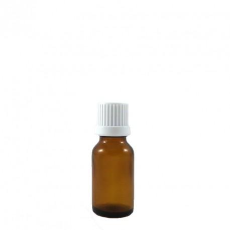 Flacon aromatherapie 15ml verre brun avec compte gouttes codigoutte inviolable BLANC