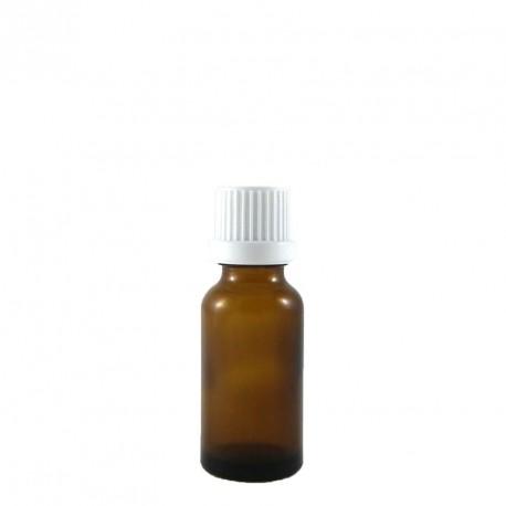 Flacon aromatherapie 30ml verre brun avec compte gouttes codigouttes BLANC.