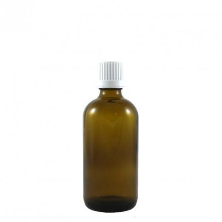 Flacon compte gouttes vide  50ml verre ambré avec bouchon codigoutte inviolable BLANC.