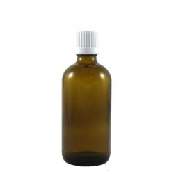 Flacon aromatherapie 100ml verre brun avec compte gouttes BLANC.