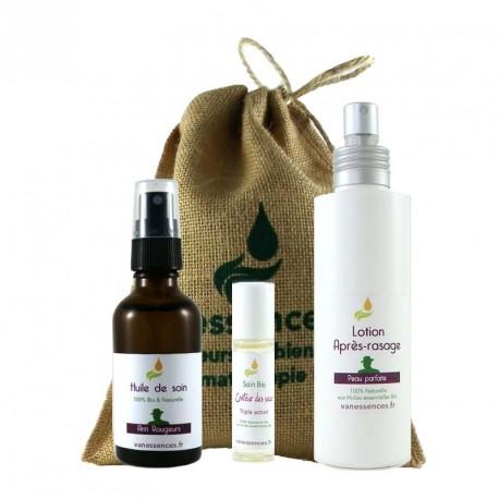 Coffret cadeau Bio pour HOMME Soins visage apaisé 100% naturel et Bio aux Huiles essentielles Bio