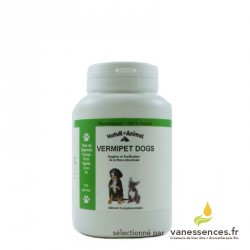 Vermipet dogs - Vermifuge naturel chien. Boîte de 120 gélules pour vermifuger naturellement.