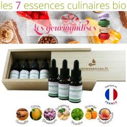 Les gourmandises - Coffret de 7 Essences culinaires Bio - Huiles essentielles alimentaires bio spécial desserts.