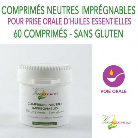 60 Comprimés neutres imprégnables sans gluten pour la prise par voie orale d'huiles essentielles bio