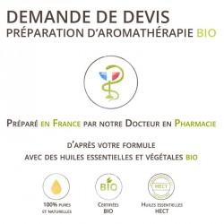 Préparation d'aromathérapie Bio personnalisée sur mesure et sur devis réalisée par notre Docteur en pharmacie