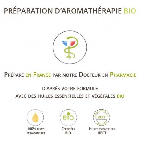 Préparation d'aromathérapie bio sur devis pour Mme L.