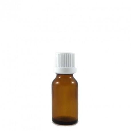 Flacon vide 20 ml aromathérapie en verre brun ambré avec bouchon codigoutte compte goutte inviolable.
