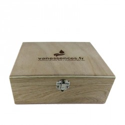 Aromatheque pour huiles essentielles - Coffret en bois pour 20 flacons. Fabriqué en france en chêne de Bourgogne.
