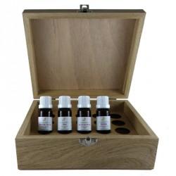 Aromathèque en Bois (20 trous) avec les 4 huiles essentielles bio de base