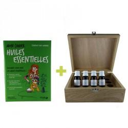Kit aromathérapie : 4 huiles essentielles bio + aromathèque en bois + livre