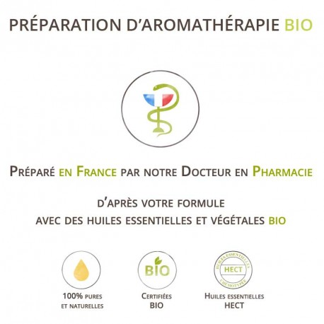 Préparation d'aromathérapie aux huiles essentielles bio.