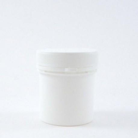 Pot en plastique vide PP blanc 100ml avec bouchon couvercle vissant inviolable.