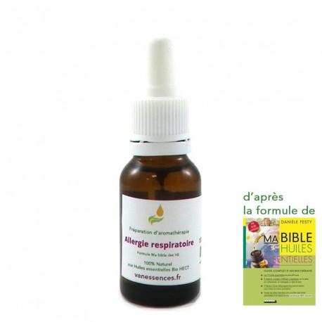 Allergies respiratoires,acariens, rhumes des foins, blattes, poussières, rhinites. Synergie 100% bio aux huiles essentielles