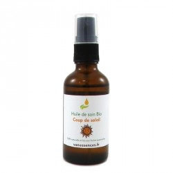 Coup de soleil remède naturel aux huiles essentielles bio. Calme, répare et cicatrise la peau après un coup de soleil. Formulé p