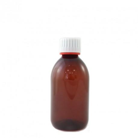 Flacon plastique vide pet ambré 250ml avec bouchon vis inviolable