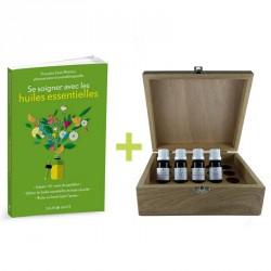 Coffret aromathérapie : Aromathèque en bois + 4 huiles essentielles d'urgence + livre aromathérapie