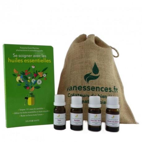 """Kit 4 Huiles essentielles bio format 10ml + livre """"Se soigner avec les huiles essentielles"""" de F. Couic Marinier + pochon jute"""