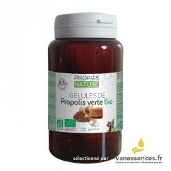 Gélule de Propolis verte Bio dosées à 500 mg. Produit 100% naturel. Boîte de 120 gélules. Fabriqué en France